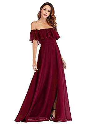 Features: Off the shoulder, layered ruffle, side split, empire waist, floor length summer dress. Beautiful ruched waist creates a figure flattering empire waistline while the elastic in the back creates a comfortable fit for all day wear. The thigh h...