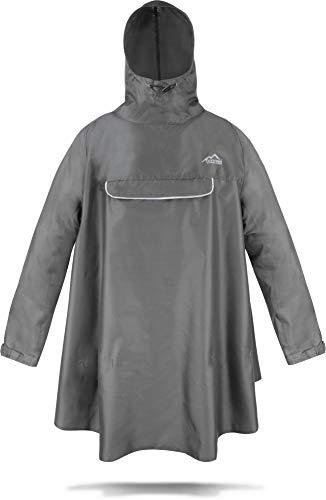 normani Regenponcho mit Ärmeln und Brusttasche für Damen und Herren [S-3XL] -YKK Brusttasche und 3M™ Scotchlite™ Reflektor Farbe Grau Größe L/XL