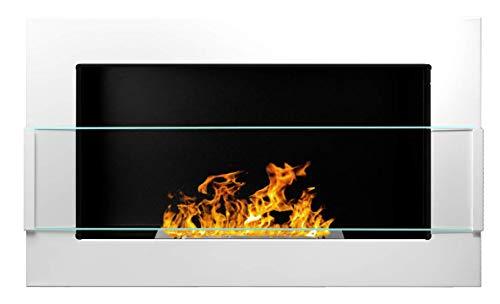 Bio Ethanol Fire BioFire Fireplace Modern 650 x 400 White with glass