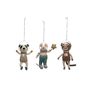 """Very cute set of 3 Wool and Felt Animals with plastic Astronaut Helmets, these critters will make your holidays Space-tacular! NEW 5.25"""" Wool & Felt Ornaments with Plastic Helmet"""