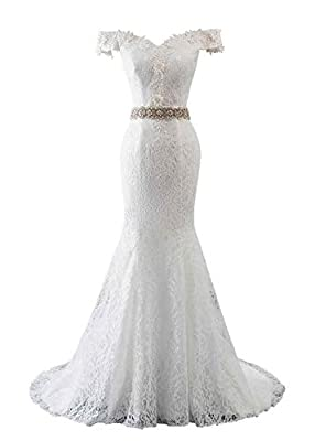 Material: Lace and Satin Main Features: O Neck, Appliques, Built in bra, Backless, Lace up back, Detachable Sash, Sweep Train Sexy Full Lace Beach Wedding Dress Appliwues Beaded Mermaid Wedding Gown 2018. Mermaid Style help you got more compliment. L...