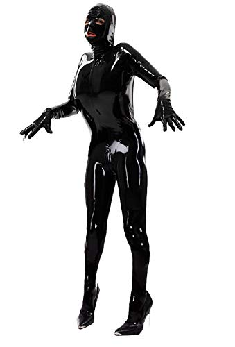 WNRLL Herren Damen Sexy Lack Leder Dessous Kostüm Catwoman Latex Catsuit PVC Body Overall Body Overall Kleid Clubwear,XXL