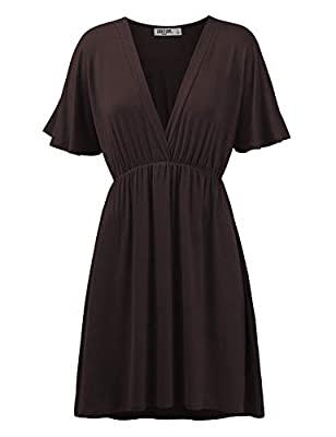 Lightweight and soft fabric with sttretch for comfort / Pull on closure / Unlined Kimono style sleeves, v neck, flare hem / Empire line dress top / Comes in variety of colors HAND WASH IN COLD WATER / DO NOT BLEACH / LAY FLAT TO DRY / DRY CLEAN IF NE...