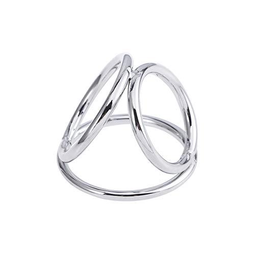 Amosfun Triple Cock Ring Set Hoden Hodensack Zurückhaltung Ring Penis Ring Erektion Verbesserung Spielzeug für Männer (Silber Größe)