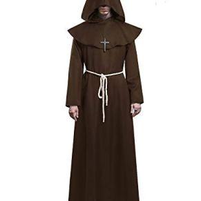 KONVINIT Medieval Fraile Túnica Disfraz Monje con Capucha Disfraces de Monje Sacerdote Disfraz de Monje Hombre para…