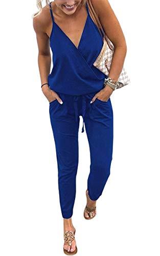 ECOWISH Damen Jumpsuit Lang V Ausschnitt Overall Sommer Ärmellos Hosenanzug Träger Playsuit Romper Blau M