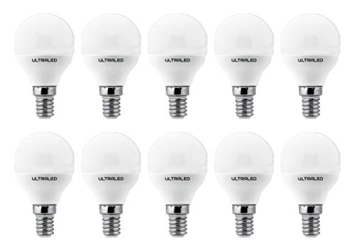ULTRALED SET di 10 LAMPADINE LED SFERA P45, Attacco E14, LUCE NATURALE 4000K 7W 525 Lumen