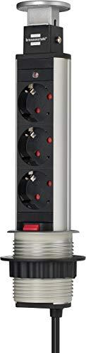 Brennenstuhl Tower Power Tischsteckdosenleiste (3-fach, versenkbare Steckdosenleiste, 2m Kabel, komplett in Tischplatte versenkbar) alu / schwarz