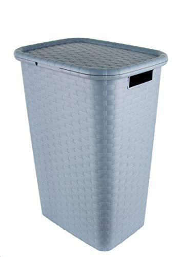 BigDean Wäschekorb Wäschebox in Flecht Rattan Optik 65 Liter - Pastell blau - Wäschetruhe Wäschekorb