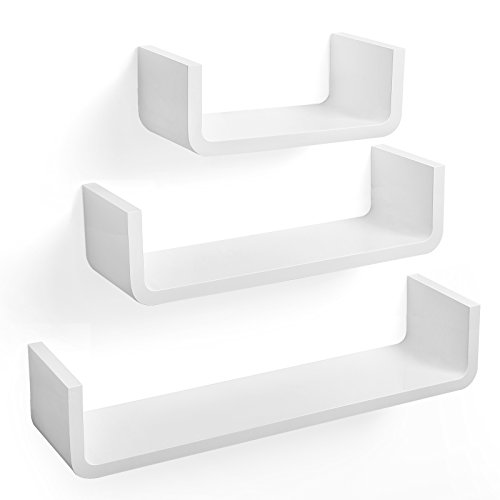 SONGMICS Wandregal im 3er-Set Schweberegale Hängeregal Bücherregal, Tiefe 15 cm, 60 45 30 cm, Weiß U-Form MDF Retro Wandboard LWS06WT