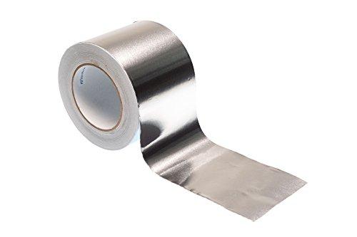 Gocableties, nastro adesivo in alluminio, rotolo da 50 m x 100 mm di alta qualità e molto resistente, argento