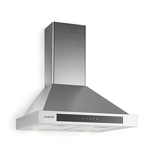 Klarstein Zelda - Cappa aspirante, Aria di scarico/ricircolo, 3 passi, max. 620 m / h, Touch, Timer, acciaio inox, vetro, 60 cm, filtro in alluminio, tubo scarico, argento