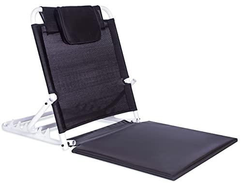 FOVERA Adjustable Back Support Recliner Floor Chair, Yoga Meditation Chair, Hospital Backrest - Large Size, Memory Foam Head Support & Metal Angle Holders
