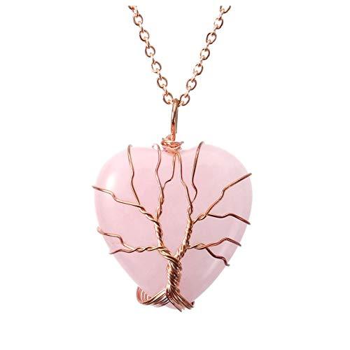 Top Plaza Natural Rose Quartz Healing Crystals Necklace Tree...
