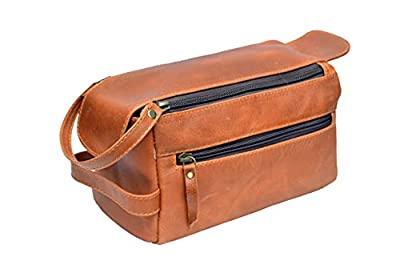 Made from the finest buffalo leather and handcrafted by experienced craftsmen High end YKK metal Zippers for rich classy look and durability, Water resistant interior Lining Measurements (L x W x H): approximately 9 x 5 x 4 inches toiletry bag , toil...