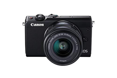 Canon EOS M100 SLR Digitalkamera (24,2 MP, Dual Pixel CMOS AF, DIGIC 7, Full-HD, Touchscreen, WIFI, Bluetooth, 7,5 cm, klappbares Display) mit Objektiv schwarz
