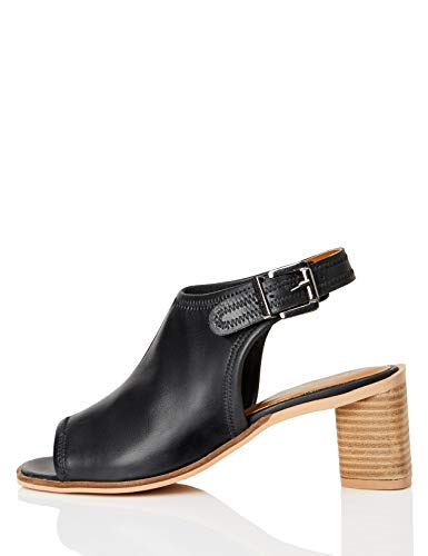FIND Leather Shoe Sandalias de Punta Descubierta, Negro (Black), 36 EU
