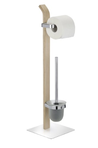 WENKO Stand WC-Garnitur Samona Nature, moderner Ständer für Toilettenpapier und Toilettenbürste, inkl. WC-Bürste mit auswechselbarem Bürstenkopf, Holz mit Chrom-Akzenten, 20 x 71.5 x 20 cm, Braun