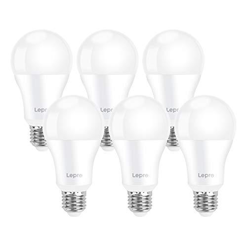 Lepro Lampadina LED E27 1521 lumen, 13.5W Equivalenti a 100W, Luce Bianca Fredda 6500K, LED Lampadina Super Luminosa, Risparmio Energetico, Angolo di Raggio 200, Nessuno Sfarfallio, Pacco da 6 Pezzi