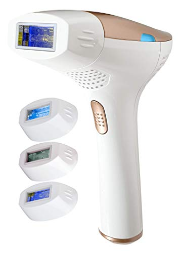 FAUSTINA 3-in-1 IPL (3 Lamps 1,500,000 Shots) Hair Removal, Skin Rejuvenation, and Acne Clearance Device - Completely Painless - Full Results After 3-7 Treatments - Free Sunglasses.