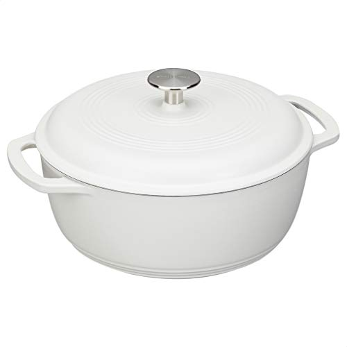 Enameled Cast Iron Dutch Oven-7.3-Quart, Matte White,