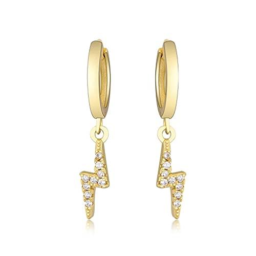 SeniorMar-UK Plata de Ley 925, Aros Colgantes múltiples, Huggies Finos de Cristal con bucles de Encanto, Clips Circulares, Pendientes, joyería para Mujer, Oro