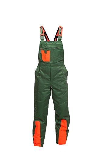 Schnittschutzhose Klasse 1, FPA Forsthose WOODSafe, Latzhose grün/orange, Herren - Waldarbeiterhose mit Schnittschutz Form A, leichtes Gewicht, Größe 54