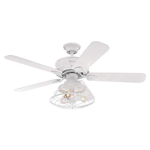 Westinghouse Lighting Ventilatori da Soffitto per Interni Barnett da 122 Cm, Kit di Luce LED Dimmerabile con Paralume a...
