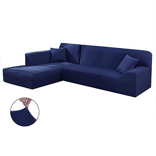 Copridivano con Penisola Elasticizzato Chaise Longue Sofa Cover Componibile in Poliestere a Forma di...