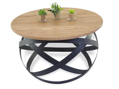Lumarc Firenze, Table Basse de Salon en Bois Massif de Chêne Naturel au Design Industriel Minimaliste Moderne, Ronde, Ø70x40 cm (Noir)