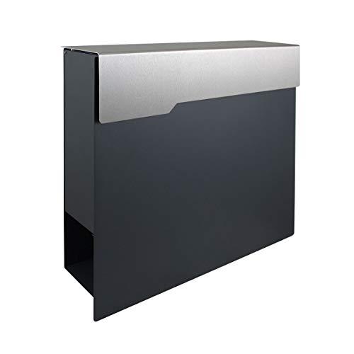 Thorwa® Design Briefkasten mit Edelstahl Klappe V2A Wandbriefkasten Postkasten CORREO (RAL 7016 FS anthrazit)