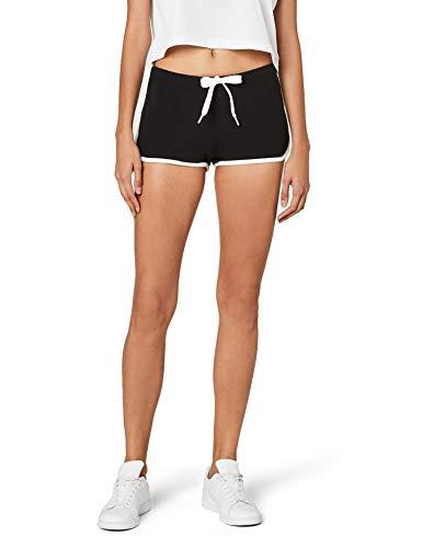 Urban Classics Damen Ladies French Terry Hotpants Short, Mehrfarbig (blk/wht 50), 38 (Herstellergröße: M)