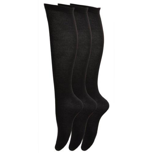 6paia di calze al ginocchio da donna, in cotone e lycra, taglia EUR 3740 nero Black