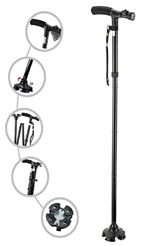 RNAZLIS® Foldable Walking Stick for old men and women with LED Light and Adjustable Walking Stick