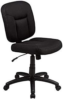 AmazonBasics Upholstered, Low-Back, Adjustable, Swivel Office Desk Chair, Black