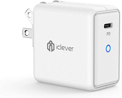 iClever USB C Charger, 61W Type C Wall Charger with GaN Tech, PD 3.0 Fast Charging Block for iPhone 11/Pro/Max, MacBook Pro/Air, Dell XPS, iPad Pro, Galaxy, Google Pixel, Nintendo Switch (White)