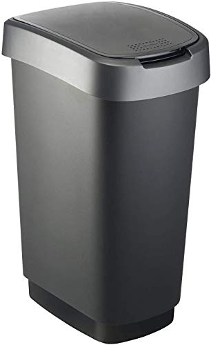 Rotho Twist Mülleimer 50l mit Deckel, als Schwing oder Klappdeckel nutzbar, Kunststoff (PP) BPA-frei, schwarz/silber, 50l (40,1 x 29,8 x 60,2 cm)
