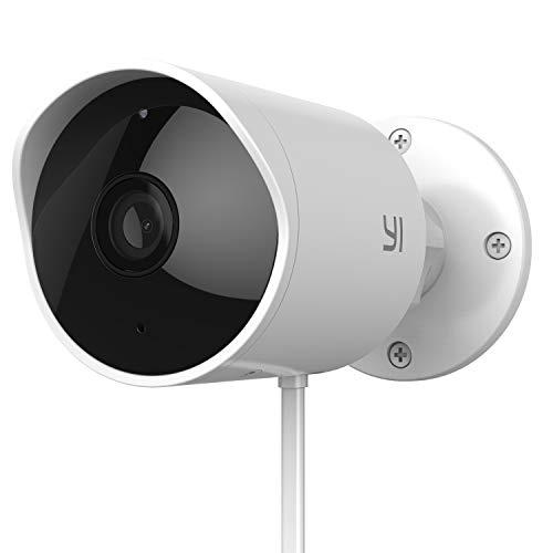 YI 1080p Telecamera Sorveglianza per Esterno,Wifi Outdoor Camera compatibile con Alexa,IP65,Notifica push in tempo reale,Visione notturna,Audio Bi-direzionale,Supporta micro scheda e cloud,iOS,Android