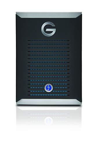 G-Technology G-Drive mobile PRO SSD 500 GB externe Festplatte (2.800 MB/s Übertragungsrate, robust und stoßsicher, Thunderbolt 3, kühlendes Aluminiumgehäuse) Schwarz
