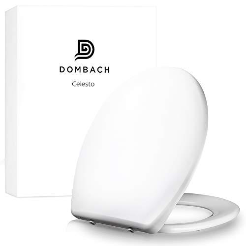 Dombach® Celesto Toilettendeckel - der Innovative Premium WC-Sitz mit Softclose / Absenkautomatik - Abnehmbar - Toilettensitz familienfreundlich antibakteriell aus Duroplast und Rostfreiem Edelstahl