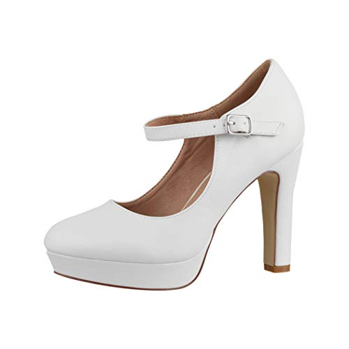 Elara Talons Hauts Escarpins Femme Sangles Vintage Chunkyrayan E22320 White-37