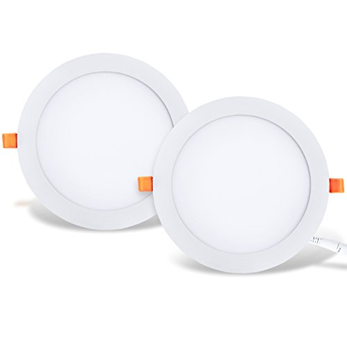 LVWIT 2x 18W Ultraslim LED Einbauleuchten, ersetzt 150W Halogen, runde Deckenleuchte mit Treiber, Neutralweiß 4000K, 1650 lm, AC 230V, Downlight/Einbaustrahler/Einbauspots (2er Pack)