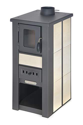 acerto 20133 LAVA poêle à bois céramique crème avec fenêtre 35x44x82 cm - Poêle à bois compact haut de gamme pour petites pièces avec 85kW de puissance thermique