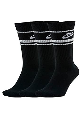 Nike CQ0301-010 U NK CREW NSW ESSENTIAL STRIPE Calzini Unisex - Adulto black/(white) XL
