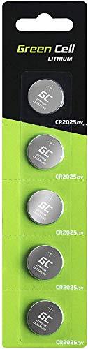Green Cell 2025 - Pila de botón de Litio 3V, (2025 / CR2025 / CR 2025), diseñada para Dispositivos electrónicos, 5 Unidades