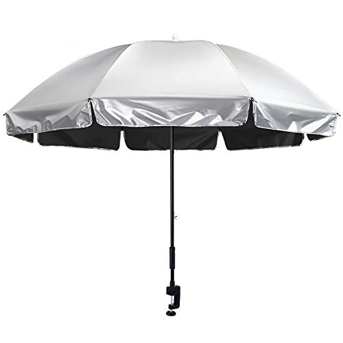 G4Free Clamp-on Chair Umbrella with Adjustable Universal Clamp UPF 50+ UV Protection Sun Blocking Umbrella for Strollers Wheelchairs Patio Chairs Beach Chairs and Golf Carts