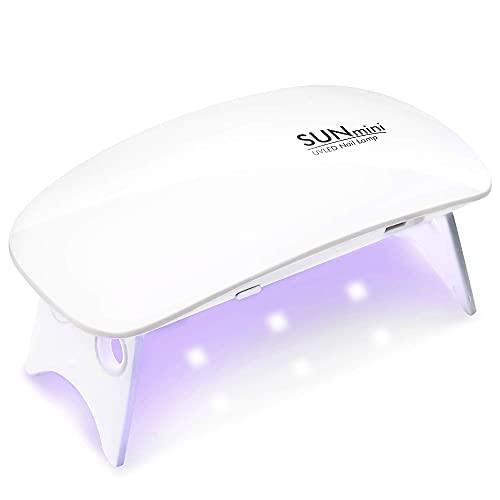 LIANGYIXIAN Sun Mini UV LED Nail Lamp 6W Nail Dryer Gel Polish Light with 2 Timer Setting45s and 60s