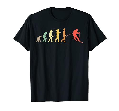 Retro Skifahren Evolution Geschenk für Skifahrer T-Shirt