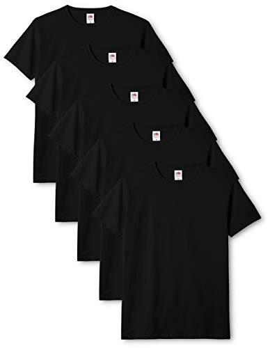 Fruit of the Loom Original T., T-Shirt Uomo, Nero (Black 36), Large(Pacco da 5)