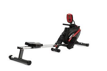 SportPlus rameur d'appartement pliable, certifié par le label allemand TÜV, système de frein magnétique silencieux et sans entretien, siège à roulements à billes, cardiofréquencemètre